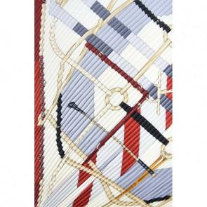 Foulard carré plissé - Noir / Rouge