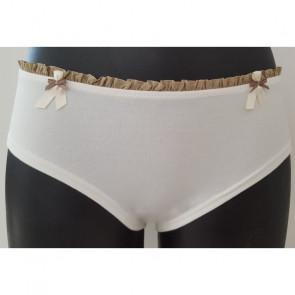 Shorty Marguerite ivoire volant beige - Coeur de Lys