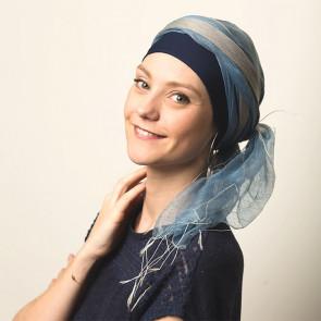 Foulard chimio Sophia gris bleu