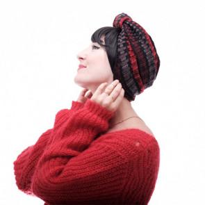 Turban Striped PinUp Rouge/Gris - Les Franjynes & Lookhatme