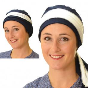 Foulard chimio Lisbonne Bleu marine et blanc - Comptoir de Vie