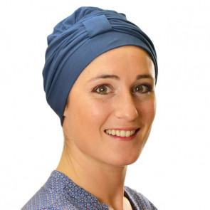 Turban Lys bleu pétrole uni - Comptoir de Vie