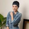 Turban bambou Agate bicolore bleu pétrole / noir - Comptoir de Vie