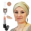 Coffret Coquette et féminine : 1 bonnet Beige + 1 vernis Praline + 1 Rouge à lèvres n°21