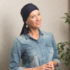 Foulard préformé Greta bleu marine bandeau amovible - Comptoir de Vie