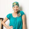 Foulard chimio préformé Mélinda turquoise bandeau coloré - Comptoir de Vie