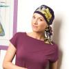 Foulard chimio préformé Mélinda violet bandeau coloré - Comptoir de Vie