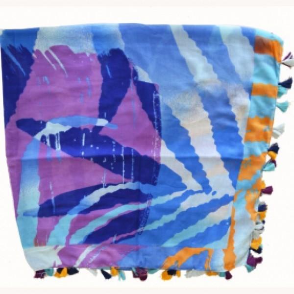 foulard carré california bleu