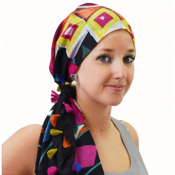foulard carré tanzania noir