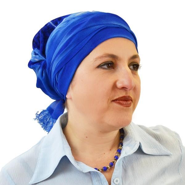 Foulard-préformé-Bleu-Aqua-Miroir