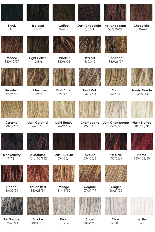 nuancier de couleurs de perruques